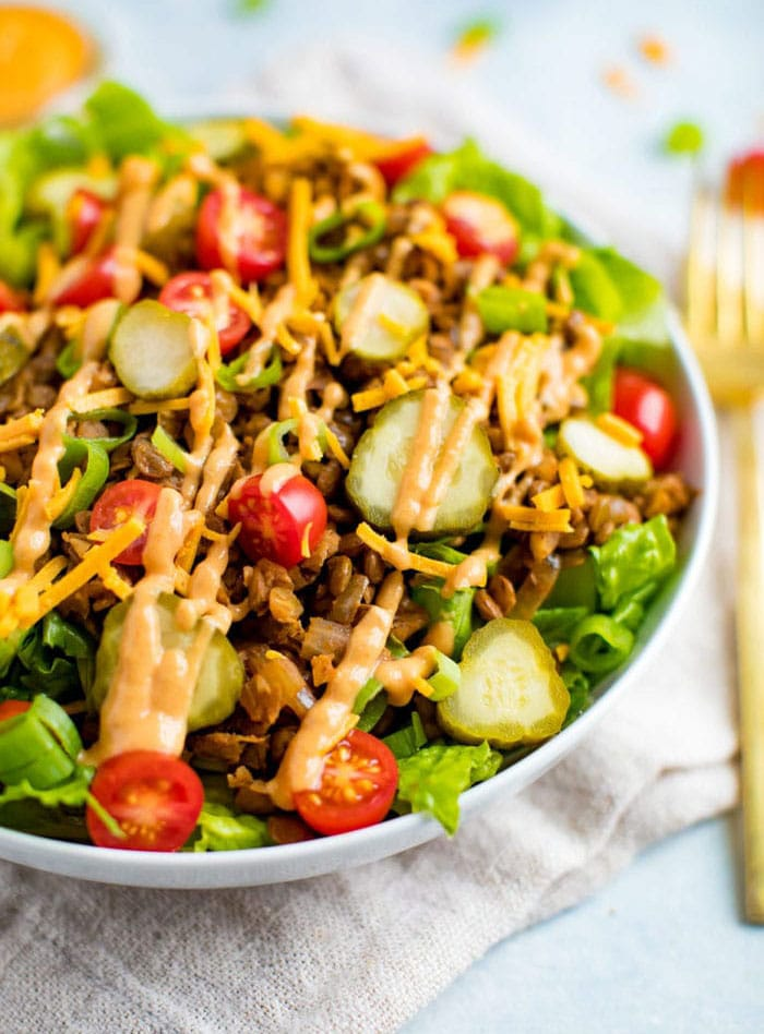 vegan cheeseburger salad