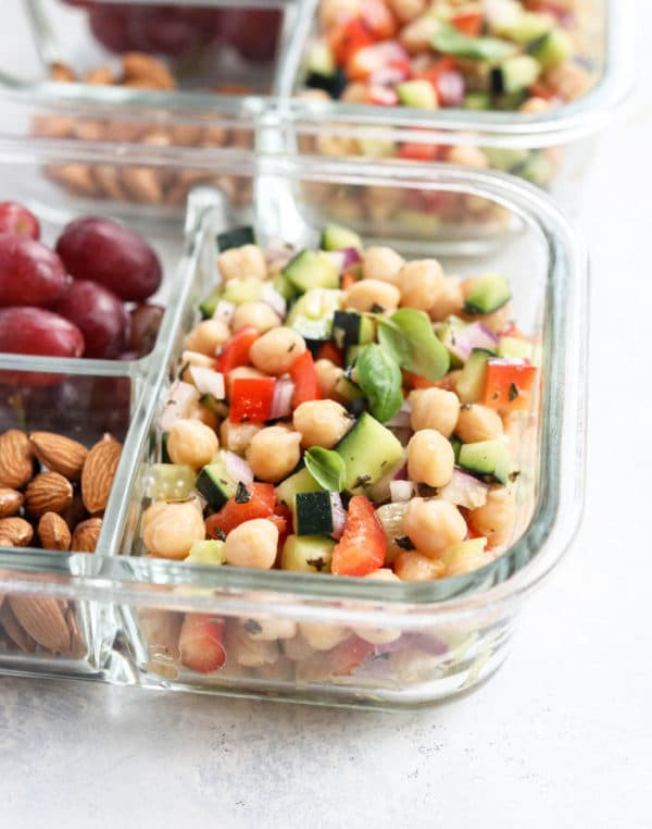 vegan chickpea salad in lunch containers