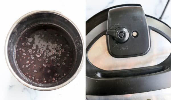 beans and water in instant pot with steam release valve