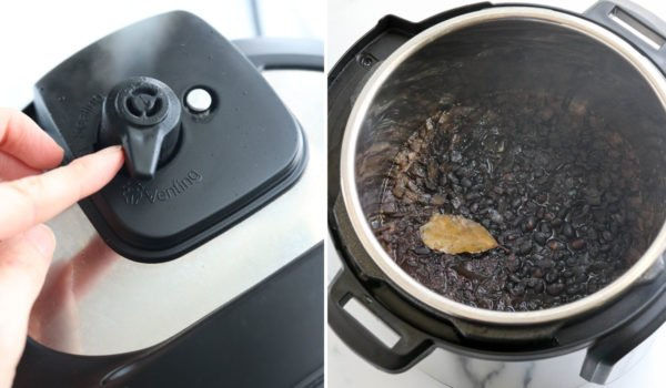 releasing steam and finished black beans