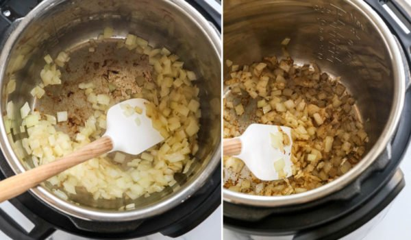 sauteeing onion and spices in Instant Pot
