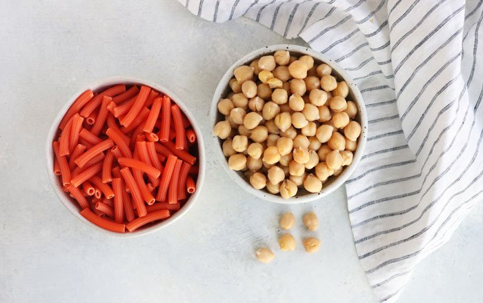 lentil pasta and chickpeas