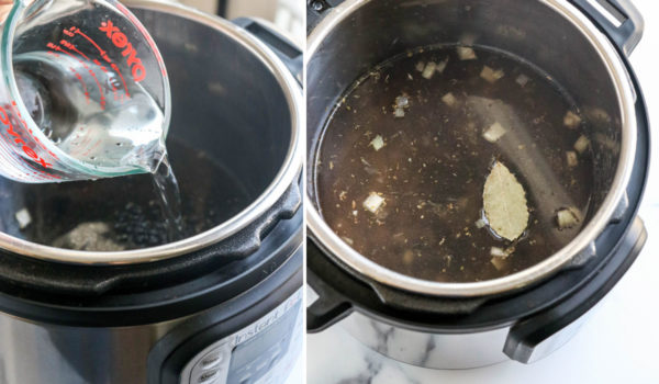 adding water and seasoning to instant pot