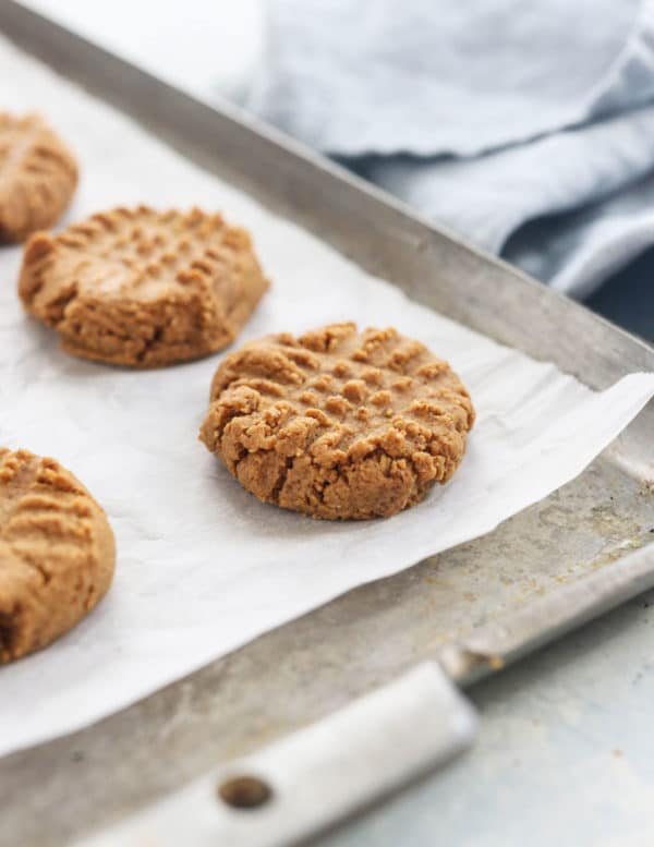 baked peanut butter cookies on pan