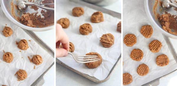 4 ingredient peanut butter cookies on pan