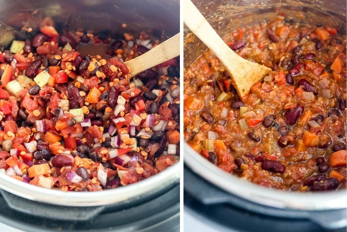 instant pot vegan chili before and after