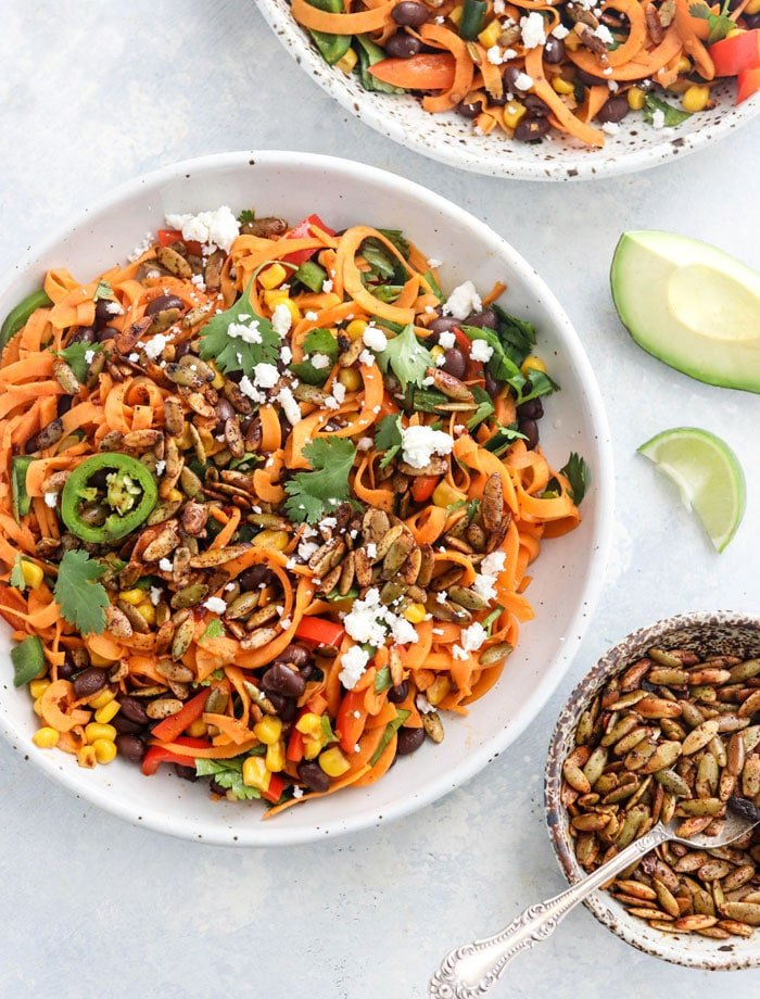 These CHIPOTLE SWEET POTATO NOODLES have a Southwestern-flair, tossed with spicy jalapenos and protein-rich black beans. Gluten-free & Vegan friendly. #glutenfree #sweetpotatonoodles