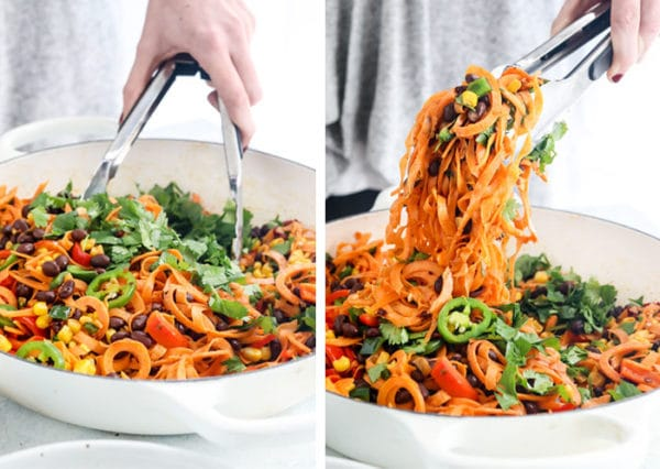 sweet potato noodles in pan