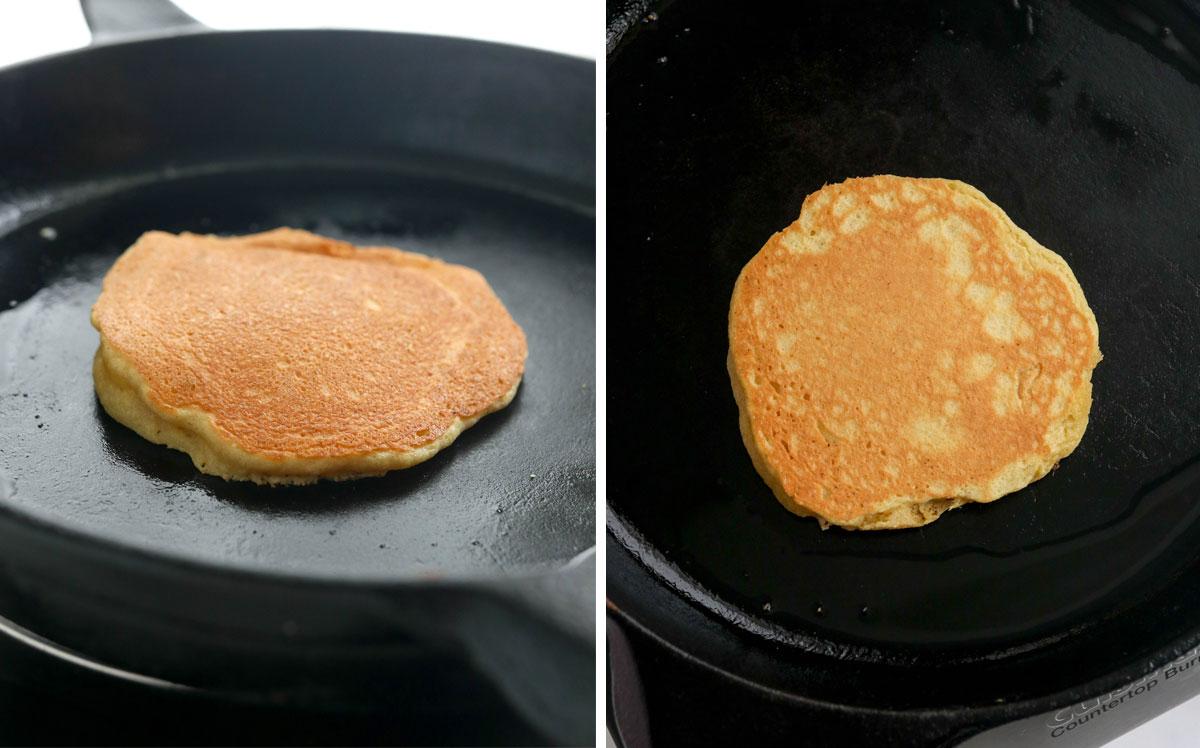 flipped almond flour pancakes