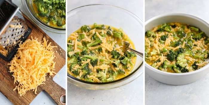 broccoli and cheddar mixed with eggs in bowl