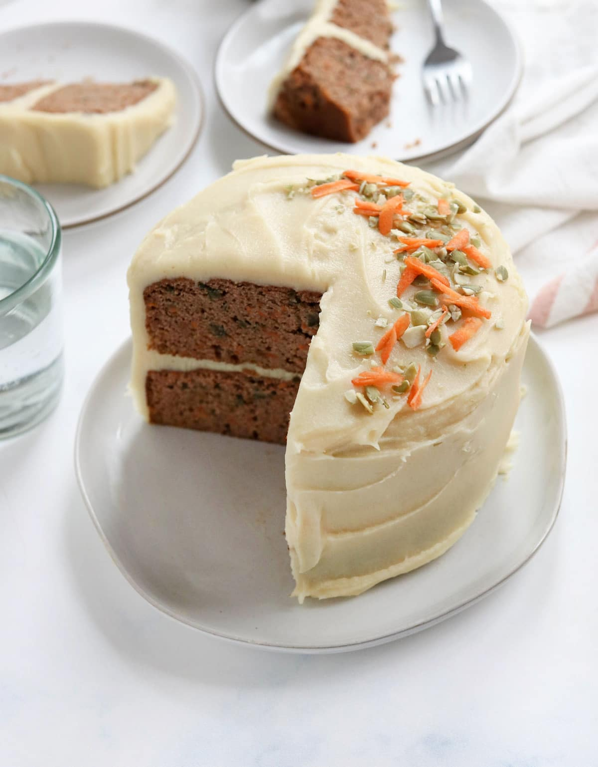 healthy carrot cake with sweet potato frosting