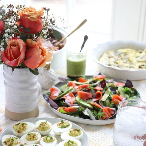Easter brunch table with roses