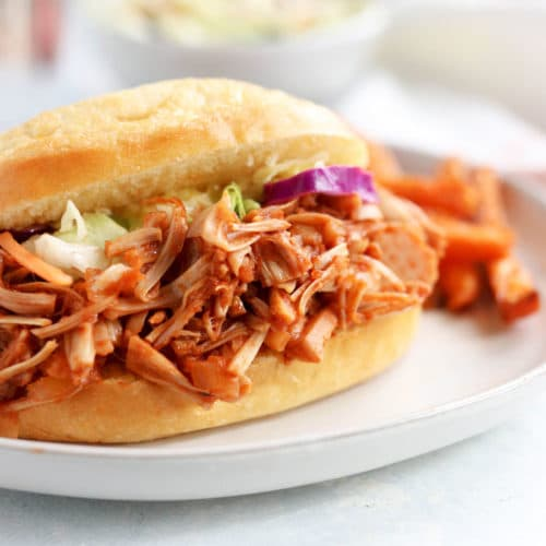jackfruit bbq sandwich closeup