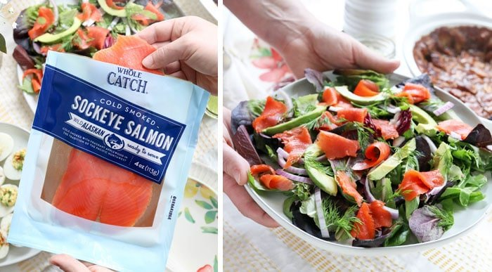 smoked salmon going on salad