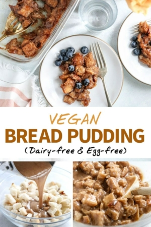 vegan bread pudding pin