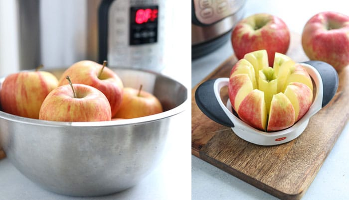 bowl of apples and one being cut