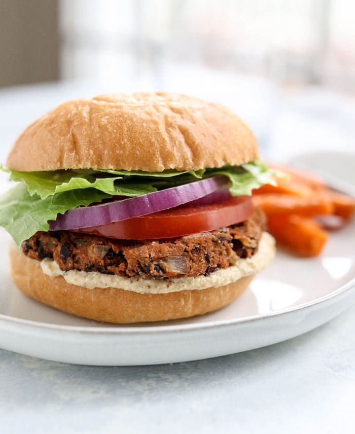 black bean burger with sweet potato fries
