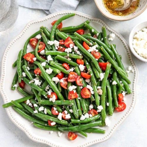 green bean salad on white plate
