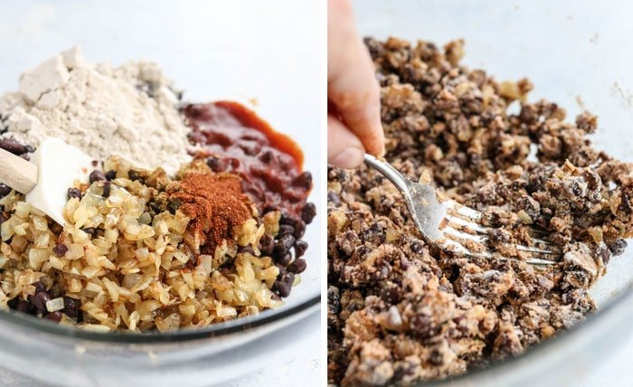 black bean burger mixture sticking together with fork