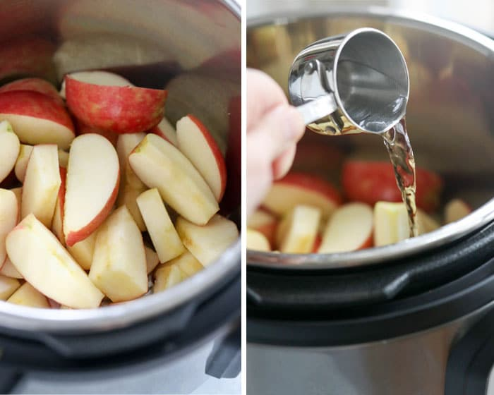 sliced apples in the instant pot