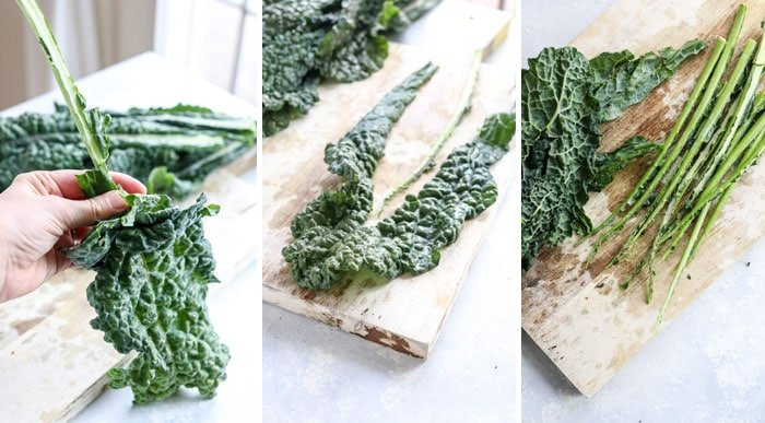 how to remove kale stems from the leaves