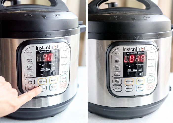 instant pot set to 10 minutes with natural release