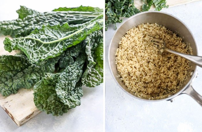 dino kale leaves and cooked quinoa