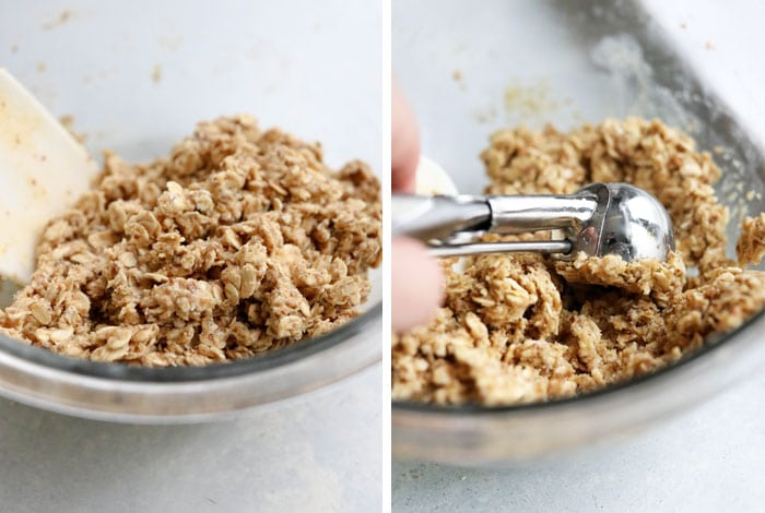 protein balls being mixed in bowl