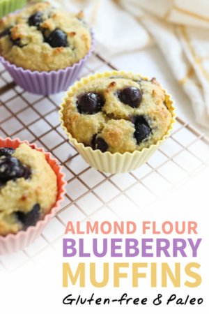 almond flour blueberry muffins pin for pinterest