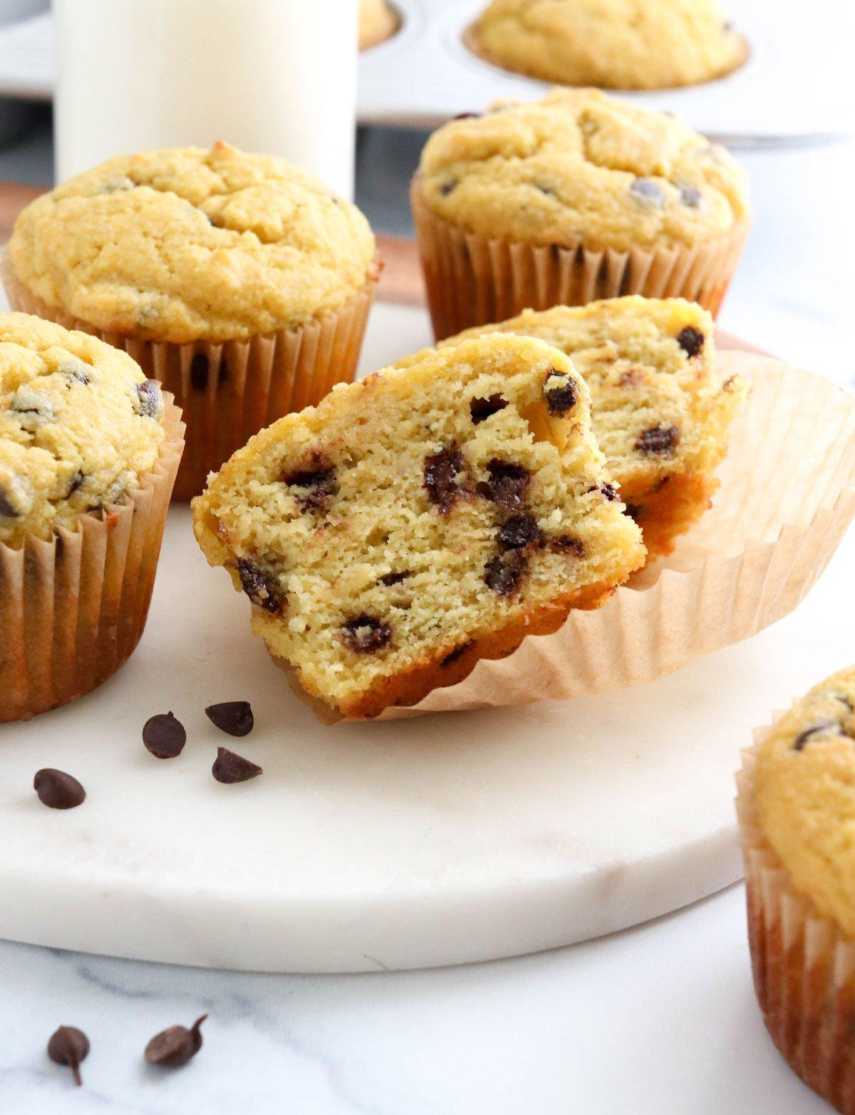 almond flour muffin cut in half