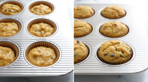 almond flour muffin batter added to muffin pan and baked