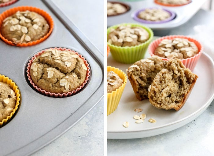 baked banana oatmeal muffins finished texture
