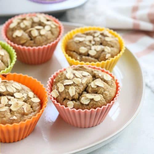 banana oatmeal muffins on plate