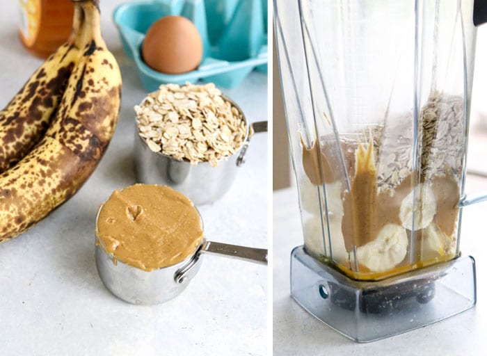 banana oatmeal muffin ingredients in blender