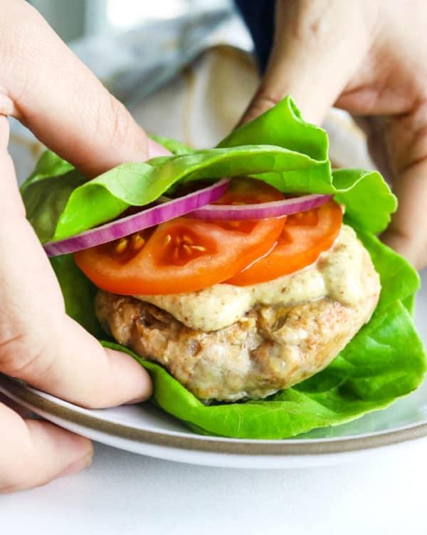 chicken burger in lettuce wrap