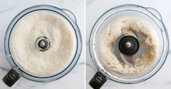 shredded coconut added to food processor and blended for 5 minutes
