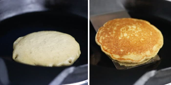 oatmeal pancakes in the skillet