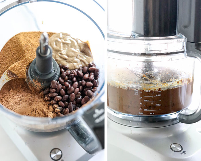 brownie batter hummus ingredients in food processor