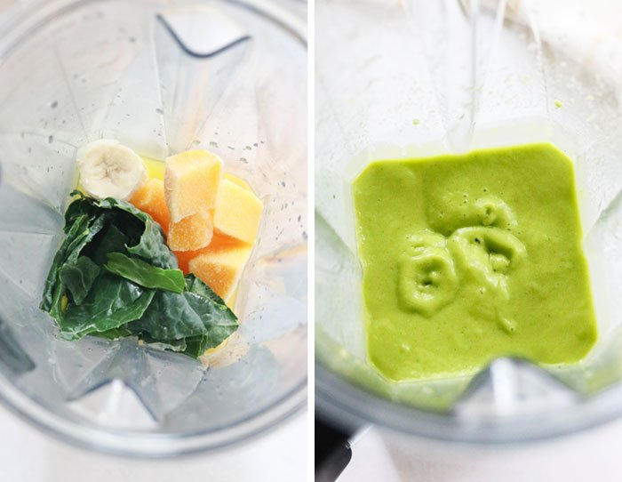 kale smoothie ingredients in blender