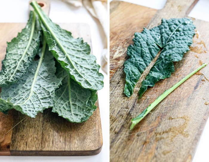 kale leaves with stem removed