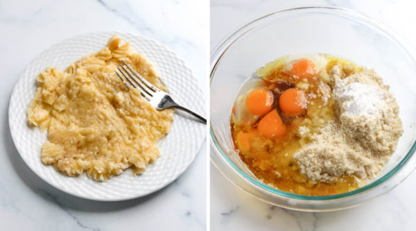 mashed banana on plate added to bowl of batter
