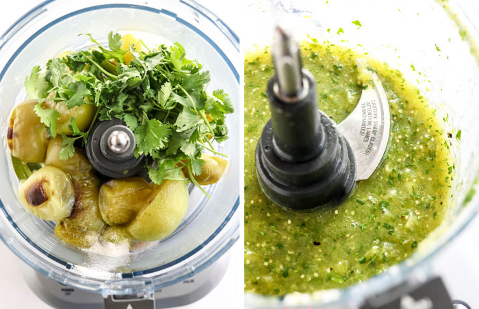 tomatillo salsa ingredients in food processor