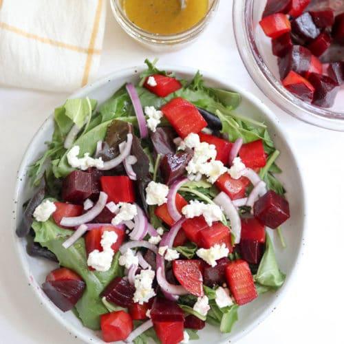 beet salad overhead on white surface