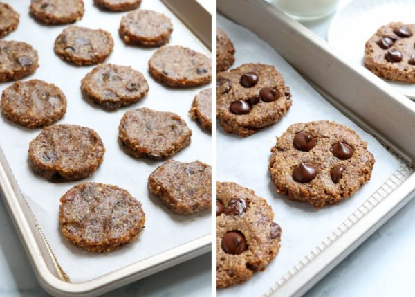 before and after baked cookies