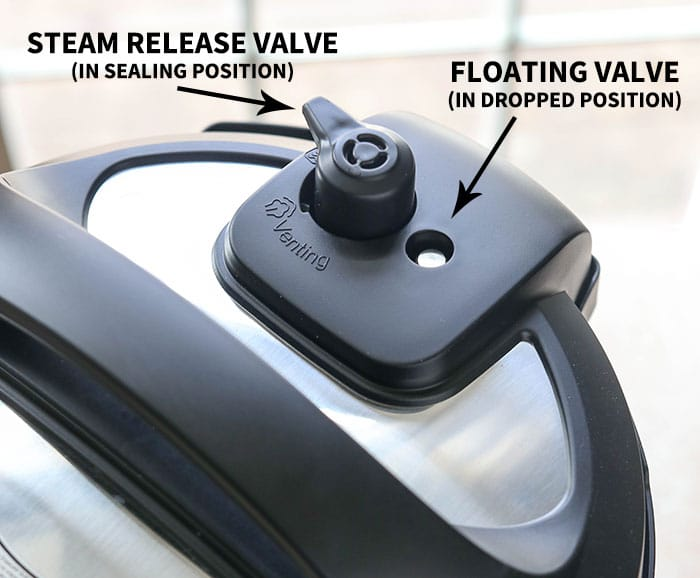 steam release valve and floating valve in the Instant Pot lid