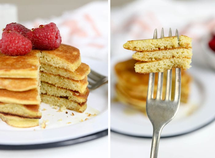 fluffy coconut flour pancakes on fork