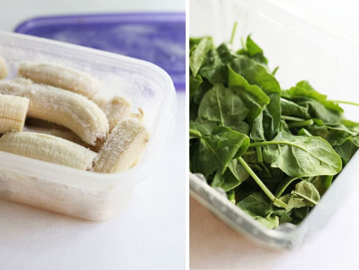 frozen bananas and spinach in box