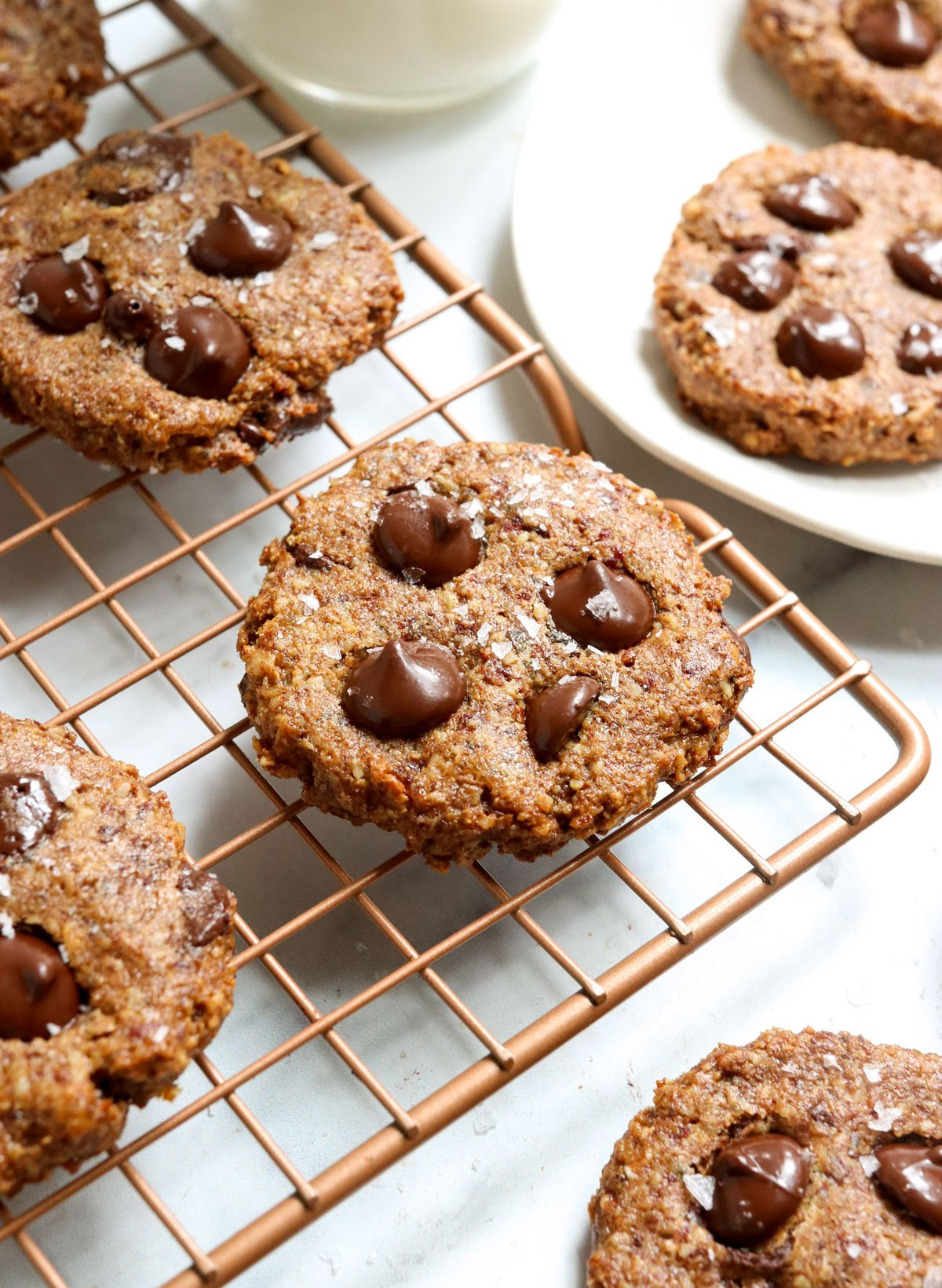 healthy cookie at an angle on wire rack