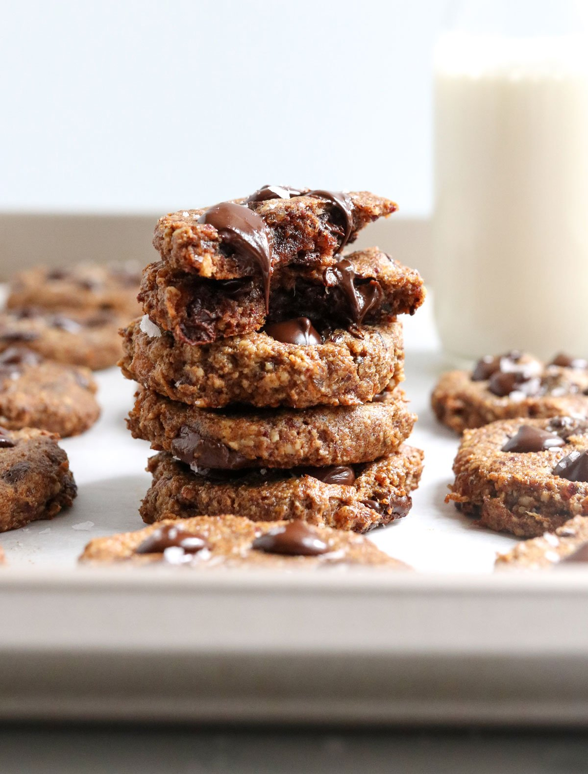 healthy cookies stacked with dripping chocolate