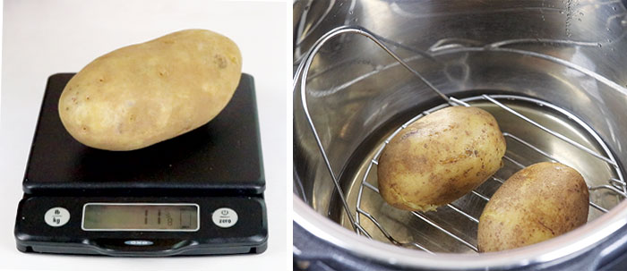 potato on scale and in instant pot